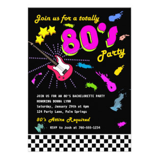 Totalmente invitaciones del fiesta de los años 80 anuncios
