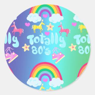 Totalmente lema del arco iris de los años ochenta pegatina redonda