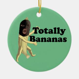 Totalmente plátanos adorno navideño redondo de cerámica