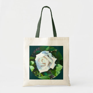 Tote -- A Single White Rose Budget Tote Tote Bags