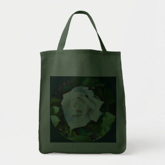 Tote -- A Single White Rose Grocery Tote Bags