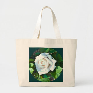 Tote -- A Single White Rose Jumbo Tote Canvas Bags