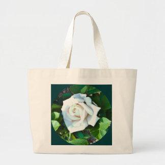 Tote -- A Single White Rose Jumbo Tote Canvas Bags