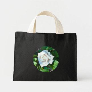 Tote -- A Single White Rose Tiny Tote Bags