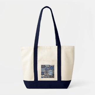 Tote acolchado remiendo azul del diseño de la impr bolsa tela impulso
