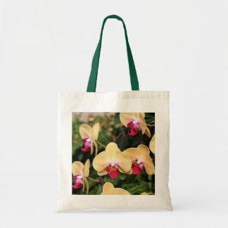 Tote amarillo y rosado de las orquídeas bolsa tela barata
