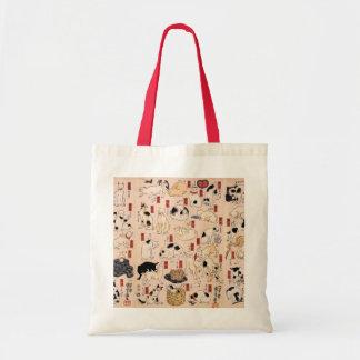 Tote antiguo de los gatos del diseño del japonés bolsa tela barata