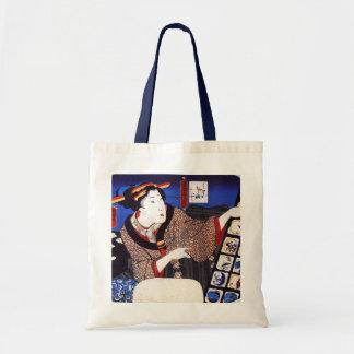 Tote antiguo del diseño del japonés (azul) bolsa tela barata
