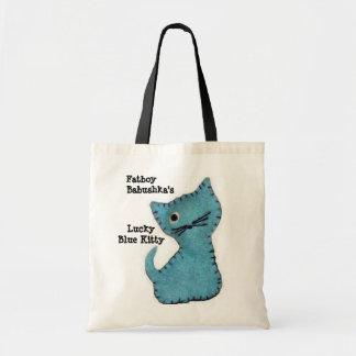 Tote azul afortunado del gatito de Fatboy Babushka Bolsa Tela Barata