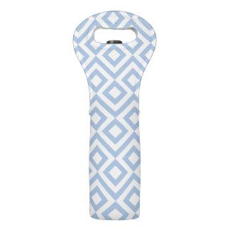 Tote azul claro y blanco del vino del meandro bolsas para botella de vino