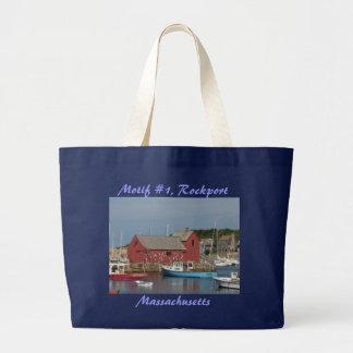 Tote azul del barco del adorno #1 bolsa tela grande