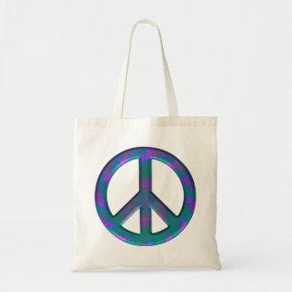 Tote azul del presupuesto del signo de la paz del bolsa de mano