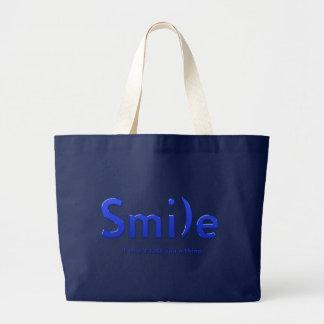 Tote azul del texto de la sonrisa ASCII Bolsa Tela Grande