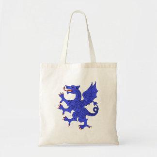 Tote (azul) desenfrenado del dragón bolsa tela barata