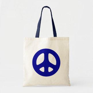 Tote azul grande de la playa del signo de la paz bolsas de mano