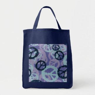 Tote azul/púrpura de los signos de la paz bolsa de mano