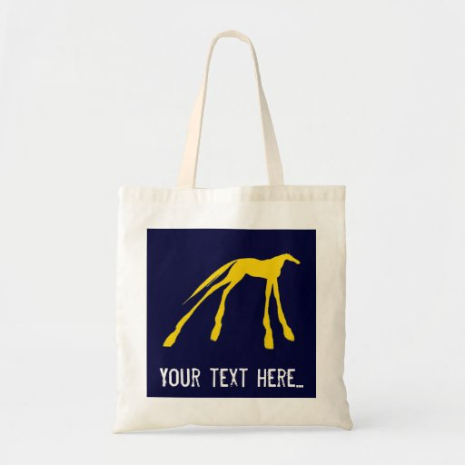 Tote azul y amarillo del caballo de neón bolsa tela barata