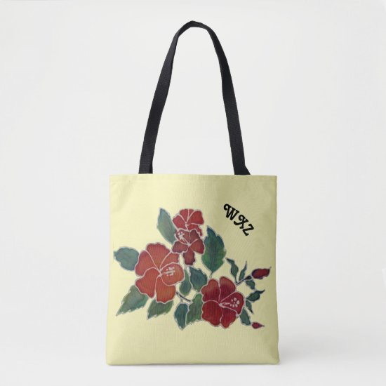 Tote Bag (ao) - Hibiscus Blossoms and Initals