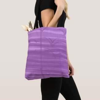 Tote Bag Birds Purple