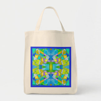 Tote Bag Blue Abstract Card Five
