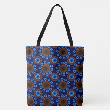Beach Themed tote bag  Blue brown retro dots