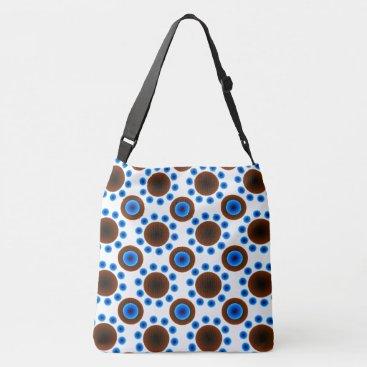 Beach Themed tote bag  Blue brown  white retro dots