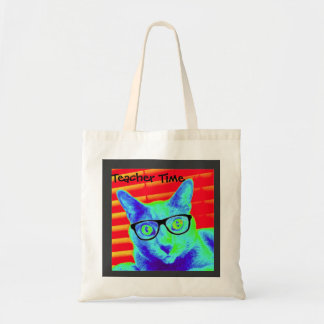 Tote Bag Cat Glasses Teacher Time
