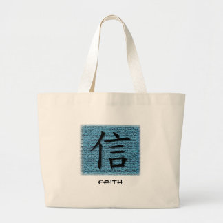 Tote Bag Chinese Symbol For Faith On Turquoise NAT