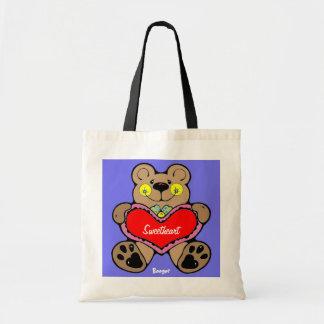 Tote Bag - Cute Brown Bear Holding A Heart Budget Tote Bag