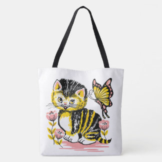 tote bag cute kitty cat butterfly flower