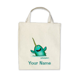 Tote Bag Cute Narwhal Cartoon Use Your Name
