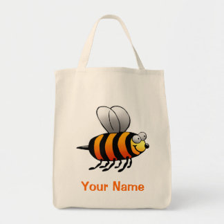 Tote Bag, Cute Orange Bee Cartoon, Use Your Name!