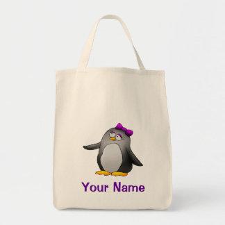 Tote Bag, Cute Penguin Cartoon, Use Your Name!