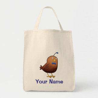 Tote Bag, Cute Quail Cartoon, Use Your Name!