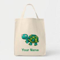Tote Bag, Cute Tutle Cartoon, Use Your Name!