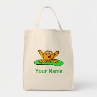 Tote Bag, Cute Yellow Frog, Use Your Name!
