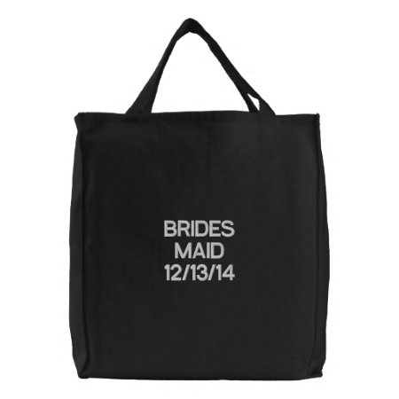 Tote Bag Embroidered --brides Maid Black And White
