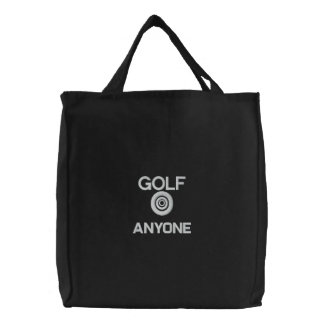 TOTE BAG EMBROIDERED GOLF ANYONE BLACK AND WHITE