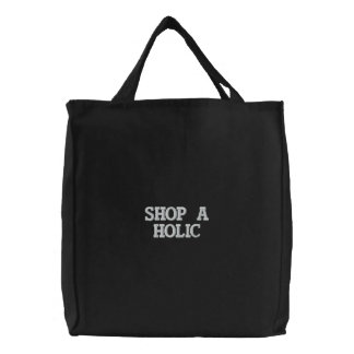 TOTE BAG EMBROIDERED SHOP A HOLIC BLACK AND WHITE