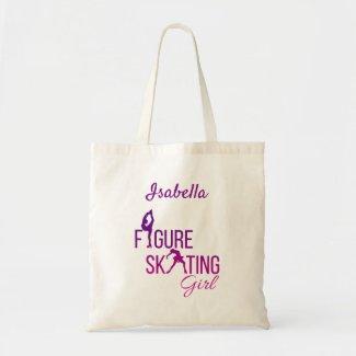 Tote bag Figure skating girl purple pink