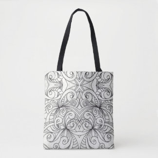 Tote Bag Floral Doodle Drawing