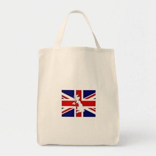 TOTE BAG - GROCERY BAG WITH BRITISH FLAG CUSTOMIZE