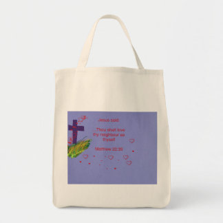 Tote Bag Jesus Love thy Neighbour Matthew 22:39