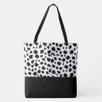 Tote Bag-Large Black & White Cow Spotted Print
