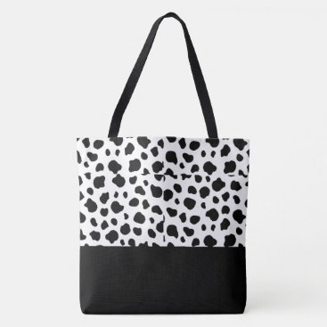 USA Themed Tote Bag-Large Black & White Cow Spotted Print