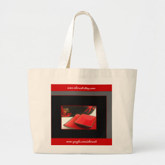 Tote Bag, Large - Japanese Kanji and Red Dishes