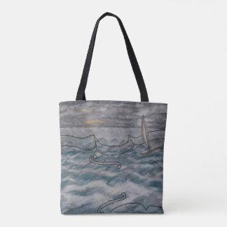 Tote Bag Original Painting Violin and Stormy Sea