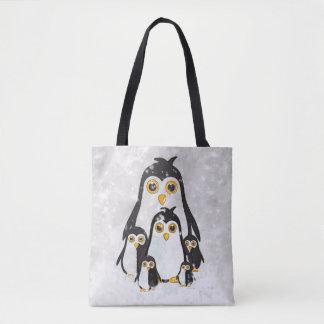 Tote Bag Penguin Family