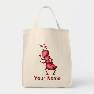 Tote Bag, Red Ant Cartoon, Use Your Name!