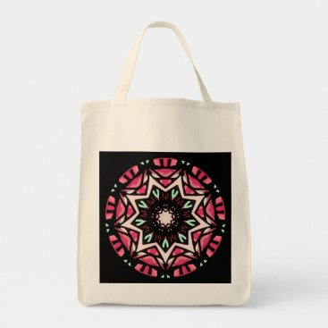 Beach Themed Tote bag. Red toned mandala.